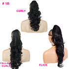 PONYTAIL Clip In On Hair Extensions Black #1b REVERSIBLE Style x 4