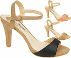 Ladies Anne Michelle High Mid Heel Peeptoe Ankle Strap Summer Sandals Shoes Size