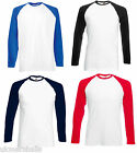 BULK BUYER - FRUIT OF THE LOOM LONG SLEEVE BASEBALL T SHIRT S - XXL