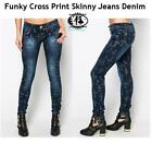 LADIES CROSS PRINT JEANS DENIM TROUSER SLIM FIT LEGGINGS SKINNY PANTS ROCK