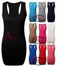 LADIES WOMENS RACER BACK MUSCLE VEST STRETCH MAXI LONG TEE TOP UK SIZE 8-14