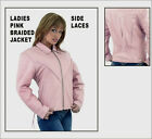 Ladies Pink Leather Braided Motorcycle Jacket Sizes XSmall to 4XL New 1*249