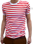 Men Stripey shirt Red White Indie Mod Psychedelic New Striped Nautical