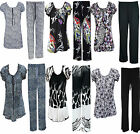 Womens Ladies Leopard Print Plus Size Gypsy Tops Trousers Full suit Dress 12-26