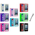 For iPhone 5 5G 5th Cassette Retro Silicone Tape Rubber Case Cover+Metal Pen