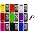For HTC Sprint EVO 4G Color Hard Snap-On Rubberized Case Cover+Stylus Plug