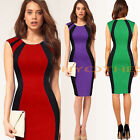 Career Women Contrast Patchwork Bodycon Pencil Evening Party Summer Dress Y254