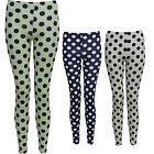 WOMENS LADIES SPOTTED POLKA DOT LEGGINGS GREEN WHITE, CERISE BLUE SM-ML