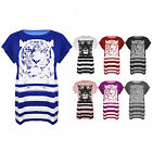 Womens Ladies Tiger Face Oversized Girls Short Sleeves Stripes Baggy T Shirt Top