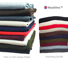 Neotrims Plain Solid Knit Rib Stretch Jersey Craft Fabric Material By The Yard