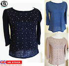 LADIES WOMEN STAR STUDDED LONG SLEEVES T-SHIRT SPIKE TUNIC TOP JUMPER VTG BLOUSE