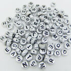 50 pcs 4x7mm Acrylic Individual Alphabet Letter Coin Round Flat Spacer Beads Z9