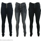 NEW WOMENS HIGH WAISTED DARK WASH SUPER SOFT LEIGH LADIES SKINNY JEANS UK 8-14