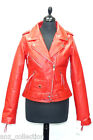 "Tania Red Ladies Womens ""Brando Style""  Designer Real Cow Hide Leather Jacket"