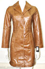 Ibiza Tan Ladies Woman's Designer Fashion Real Hide Leather Jacket Trench Coat