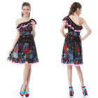 Gorgeous One Shoulder Ruffles Floral Printed Chiffon Short Party Dress 02398