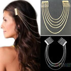 WOMEN GOLDEN METAL LONG TASSEL CHAINS CUFF HAIR COMB HAIRBAND FREE SHIPPING B94K