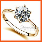 18k Gold Gf R88 Solitaire Diamond Classic Claw Engagement Bridal Lady Solid Ring