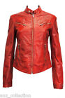 Joan Red Ladies Womens Girl Short Vintage Real Sheep Washed Waxed Leather Jacket