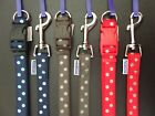 RED. CHOC, BLUE NYLON POLKA DOT ANCOL CLIP DOG COLLAR or LEAD - NUTS ABOUT MUTTS