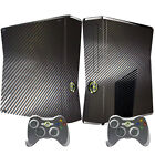 WOW 3D Black Carbon Fiber Skin STICKER For X BOX 360 Console controllers Decal