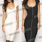 New Formal Scoop Neck Women Front Zipper Pleated Wiggle Pencil Party Dress Y488