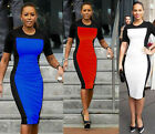 Formal Women Zipper Short Sleeve Waisted Wiggle Pencil Bodycon Party Dress Y483