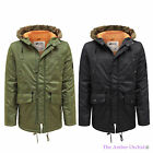 MENS D-STRUCT QUILTED PADDED LINED FAUX FUR HOOD PARKA WINTER JACKET COAT S-XXL