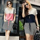 Womens Crew Neck Stripe Batwing Sleeve Patchwork Waist Belt Loose Casual Dress