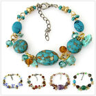 SB173-195 1p Coloured Glaze Gemstone Shell Charm Tibetan Fashional Bracelet