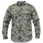 Mens Shirt Dissident Top Padded Army Camouflage Military Combat Epaulette Winter