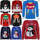 Womens Mens Xmas 3 Buttons Snowman Elf Sweater Long Sleeves Knitted Jumper Top