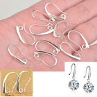 10-100P Make Jewelry Findings Silver Smooth Pinch Bail Ear Wire Hook Earring DIY