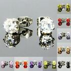 5mm Sparkling Czech Crystal Round Stud Pierced Earrings for Wedding Party