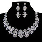 Beauty Crystal Rhinestone Cocktail Wedding Party Earrings Necklace Jewelry Set