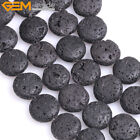 """Coin Black Lava Rock Stone Beads For Jewelry Making 15"""" Wholesale Jewlery Beads"""