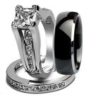 3 pcs Black Mens Tungsten  & Womens Stainless Steel Engagement Wedding Rings Set