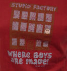 NEW Girls Juniors DAVID & GOLIATH Stupid Factory Distressed Red T-Shirt