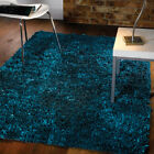 Flame Teal Rugs | Shaggy Pile Modern Colours Soft Touch High Quality 2 sizes