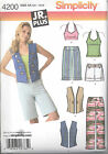 Simplicity 4200 Junior or Junior Plus Pants, Shorts, Vest and Knit Top