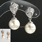 "B1-E696 Fashion 1.1"" Pearl Dangle Earrings 18K GP use Swarovski Crystal"