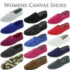 New Womens Canvas Shoes Flats Slip-On Classic Casual Boat Comfy Round Toe Ballet