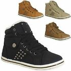 Ladies Girls Stud Womens Hi Top FUR Trainers Flat Ankle Boots Winter Shoes Size