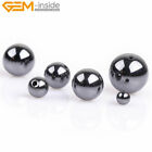 Round Half Drilled Black Hematite Jewelry Making Gemstone Bead 10pcs No Magentic