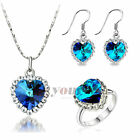 Use Swarovski Crystal Titanic Ocean Heart Necklace Earrings Ring Jewelry Sets
