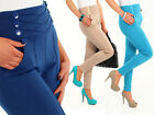High Waist Stretch Trousers Chino Women Girls Pants Sizes Uk 8-18 FA10