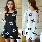 Korean New Sweet 3/4 Hollow Out Lace Sleeve Womens Flower Shift Mini Dress Tops