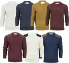 Mens Brave Soul Quilted Suede Shoulders Crew Neck Knit Jumper