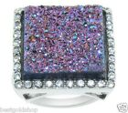 QVC Multi-Color Rainbow Drusy Quartz Ring Stainless Steel by Design J272086