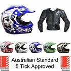 KIDS YOUTH  MOTOCROSS HELMET & BODY ARMOUR SUIT DIRT BIKE PEEWEE ATV QUAD BMX